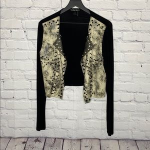 Cardigan with spikes and studs